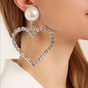 Alessandra rich crystal heart earrings silver